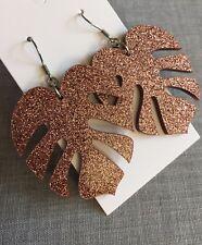 Statement Monstera Leaf Dangle Earrings  Glitter Bronze Acrylic, Surgical Hooks