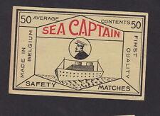 Ancienne étiquette paquet allumettes Belgique BN79532 Bateau Sea Capitaine