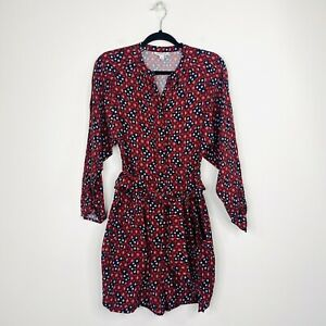 Country Road Womens Playsuit Romper Long Sleeve Floral Red Burgundy Size 6