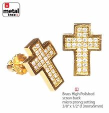 Men's Hip Hop Cross Brass Gold Plated CZ Setting Screw Back Earring 961 G