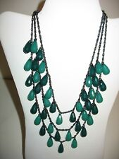 Joan Rivers Necklace Multi Strand 17 Inches Green Beaded Signed String Black