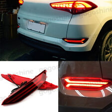 2pcs LED Rear Bumper Reflector Lens DRL Fog Brake Park Lights For Hyundai Tucson