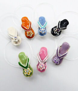 ADORABLE Lacquer Enamel Crystal Dainty Petite FLIP FLOP Invisible Toe Ring NEW