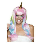 Women's Pink and Blue Unicorn Fairy Wig