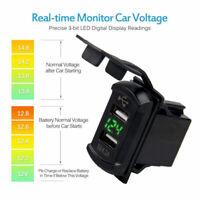 Car 4.2A Flush Dash Charger Mount Adapter Panel USB Port w/ Green LED Voltmeter