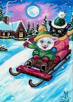 ORIGINAL ACEO RYTA PAINTING XMAS BLACK WHITE CAT WINTER SLEIGH SLED KITTENS GIFT