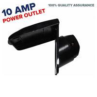 BLACK 10 Amp Power Outlet Boat Caravan Motor home RV 240V Socket Electrical 10A