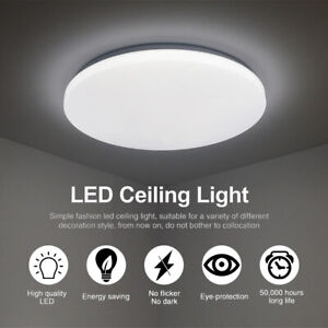 24W Bright Round LED Ceiling Down Light Panel Wall Bathroom Kitchen Lamp Cool