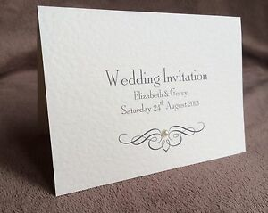 Personalised Day or Evening Handmade Wedding Invitations. Pearl