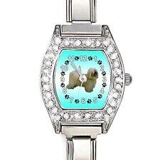 Havanese Dog CZ Womens Stainless Steel Italian Charm Bracelet Wrist Watch BJ1112