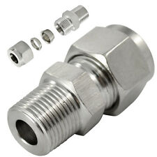 """DOUBLE FERRULE TUBE FITTING MALE CONNECTOR 10 MM ODx3/8"""" NPT STAINLESS STEEL 304"""