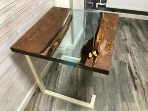 Epoxy River Dining Table - Handmade Live Edge Oak Wood Natural Wooden Coffe