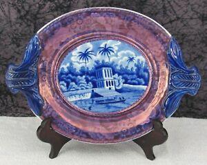 Antique Staffordshire Blue Transferware Oriental Hindoo Pagoda Sauce Tureen Tray