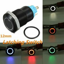Black 4 Pin 12mm Led Light Metal Push Button Latching Switch Waterproof 12v