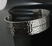 .925 Sterling Silver 9.5mm Hammered Men's Cuff Bracelet