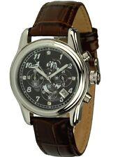 Disney Uhren Chronograph mit Dagobert Duck Motiv Unisexuhr braunes Lederband