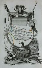 Miniature antique map, SOMME, AMIENS, ABBEVILLE, FRANCE, A. M. Perrot, 1824