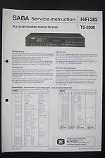Saba ts-2030 Original Tuner L'INSTRUCTION DE SERVICE/manuelle/Diagram/