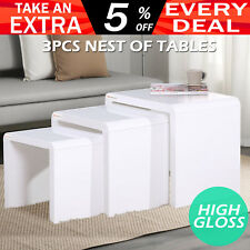 High Gloss 3 Pcs Nested Tables Set Plant Display Side Coffee Hall Table White
