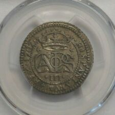 1707 CHARLES III 2 REAL PCGS AU58 SPANISH SILVER COLONIAL ERA HIGH GRADE COIN