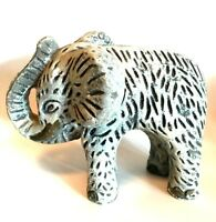 Elephant Figurine Signed Mexico Unique Heavy Statue White Wash 8 inches Long