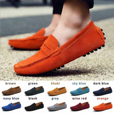 Mens Loafers Suede Leather Driving Shoes  Moccasins Slip On Flat Casual Shoes
