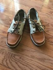 Women's 7 Timberland Brown Cream Plaid  Leather Deck Shoes