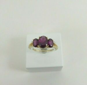 9ct Gold Amethyst Ring Three Stone Hallmarked Size P with Gift Box