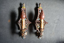 Pair of 1930's  Electric Candle Polychrome Wall Sconces Revival