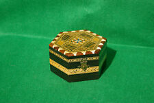 DECORATIVELY INLAID HINGED HEXAGONAL WOODEN BOX  FINISHED  IN VARNISH