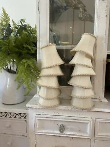 Vintage Traditional Ivory Cream Set 11 Candle Clip On Small Lampshades