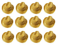 "Lot of 12 Miniature Straw Cowboy Hats 3-1/2"" Supplies for Dolls, Bears, Crafts"