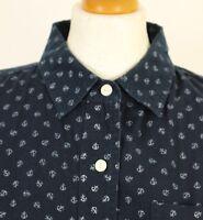 JACK WILLS Ladies Navy ANCHOR Pattern Long Sleeved SHIRT - Size UK 10 - US 6