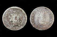 Liard à l'écu 1791 H (La Rochelle) Louis XVI°. Bronze argenté