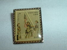 9/11 Heroes Usa Lapel Pin Or Tie Tack Usa Flag Stamp, New On Original Card