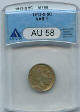 1913-S Buffalo Nickel 5c ANACS AU 58