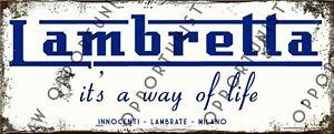 Vintage Lambretta It's A Way Of Life LI SX LD TV Metal Sign Size 28 x 11cm