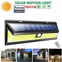 180COB LED Remote control Solar Wall Lamp Outdoor Light Garden Motion Sensor #BD