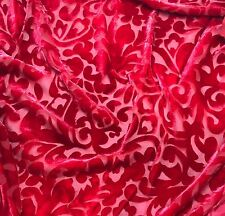 """Hand Dyed Burnout Silk VELVET Fabric CHERRY RED SCROLL 9""""x22"""" remnant"""