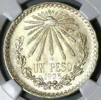 1925 NGC MS 64  Mexico 1 UN Peso Silver Eagle Snake Mint State Coin (20010601D)
