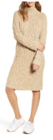 BP Womens Cable Knit Sz Small S Beige Mock Neck Heathered Chunky Sweater Dress
