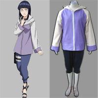 Anime Shippuden Hinata Hyuga Ninja Uniform Cosplay Outfit Full Set Coats+Pants