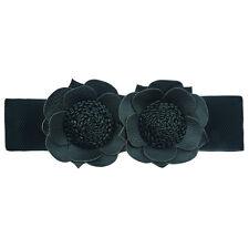 Ceinture bijoux Noire femme 62 à 80 cm Large Élastique noir fleurs similicuir