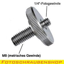 """Gewindeadapter 1/4"""" - M8 lang mit Rändelmutter (Kupplung Metrisch – Zoll)"""