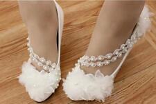 Zapatos de Salón Elegantes Mujer Novia Blanco Encaje Event Perno Plataforma 8 CM
