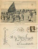 Cartolina di Falconara Marittima, bagnanti sulla spiaggia - Ancona