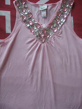 NEW GIRL'S CLOTHES M&Co LIGHT PINK TOP WITH GEMS DANCE PARTY AGE 13-14 YEARS