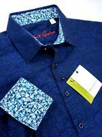 Robert Graham Floral Paisley Print Blue Black Tonal Masterpiece Sport Shirt