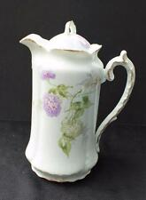 "Antique MALMAISON Germany Hand Painted Purple White HORTENSIA 10""h Coffee Pot"