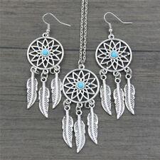 Bohemian Dreamcatcher Leaves Feather Pendant Necklace Earrings Jewelry Set WF